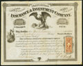 Miscellaneous:Other, National Insurance & Investment Company 100 Shares 1866 Very Fine.. ...