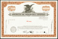 Miscellaneous:Other, Four Insurance Stock Certificates Very Fine or Better.. ... (Total: 4 items)
