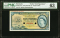 Bermuda Bermuda Government 5 Pounds ND (1952-66) Pick 21cts Color Trial Specimen PMG Choice Uncirculated 63
