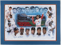 Autographs:Photos, 1997 3,000 Hit Club Multi-Signed Lithograph Display (13 Signatures)....