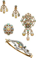 Estate Jewelry:Lots, Opal, Diamond, Gold Jewelry Lot. ... (Total: 4 Items)