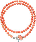 Estate Jewelry:Necklaces, Coral, Diamond, Aquamarine, Cultured Pearl, White Gold Necklace . ...