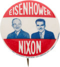 """Political:Pinback Buttons (1896-present), Eisenhower & Nixon: Scarce Jugate in the Desirable 1 1/4"""" Size...."""