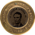 Political:Ferrotypes / Photo Badges (pre-1896), Abraham Lincoln: Back-To-Back 1860 Ferrotype. ...