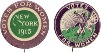 """Woman's Suffrage: New York Ballot Initiative Button along with Boldly Colored """"Five Star"""" Trumpeter Button..."""