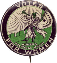Woman's Suffrage: Boldly Colored Trumpeter Button