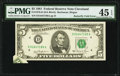 Butterfly Fold Error Fr. 1976-D $5 1981 Federal Reserve Note. PMG Choice Extremely Fine 45 EPQ