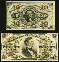 Fr. 1256 10¢ Third Issue Very Fine; Fr. 1294 25¢ Third Issue Very Fine. ... (Total: 2 notes)