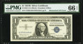 Mismatched Serial Numbers Error Fr. 1621 $1 1957B Silver Certificate. PMG Gem Uncirculated 66 EPQ