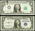 Error Notes:Offsets, Minor Errors on a $1 Silver and on a $1 FRN.. ... (Total: 2 notes)
