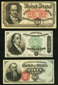 Fractional Currency:Group Lots, Fr. 1376 50¢ Fourth Issue Stanton Very Fine;. Fr. 1379 50¢ Fourth Issue Dexter Very Fine;. Fr. 1381 50¢ Fifth Issue Ve... (Total: 3 notes)