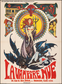 "The Nude Vampire (Les Distributeurs Associes, 1970). Very Fine- on Linen. French Grande (45"" X 62""). Philippe..."