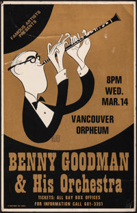 """Benny Goodman & His Orchestra at the Orpheum (Famous Artists, 1979). Fine/Very Fine. Concert Window Card (14"""" X..."""