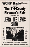 """Movie Posters:Rock and Roll, Jerry Lee Lewis at the Tri-County Firemen's Fair (WCRV Radio, 1972). Fine+. Concert Window Card (14"""" X 22""""). Rock and Roll...."""