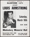 "Movie Posters:Musical, Louis Armstrong at the Muhlenberg Memorial Hall (Allentown J-C's, 1956). Very Fine-. Concert Window Card (11"" X 14""). Musica..."