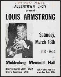 "Louis Armstrong at the Muhlenberg Memorial Hall (Allentown J-C's, 1956). Very Fine-. Concert Window Card (11"" X 14&..."