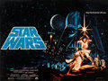 "Movie Posters:Science Fiction, Star Wars (20th Century Fox, 1977). Very Fine- on Linen. Full-Bleed British Quad (30"" X 40"") Pre-Academy Awards Style, Tim a..."