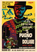 "Movie Posters:Western, A Fistful of Dollars (Unidis, R-1968). Fine/Very Fine on Linen. Italian 2 - Fogli (39.5"" X 55"") Michelangelo Papuzza Artwork..."