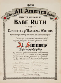 1928 Al Simmons All America Baseball Team Certificate Signed by Babe Ruth