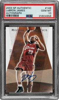 2003-04 Upper Deck SP Authentic LeBron James Rookie Autographs #148 PSA Gem Mint 10 - Numbered 252/500