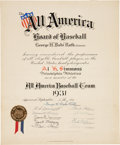 Baseball Collectibles:Others, 1931 Al Simmons All America Baseball Team Certificate Signed by Babe Ruth....