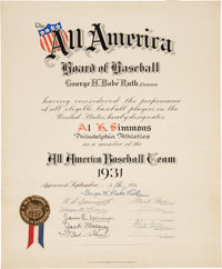1931 Al Simmons All America Baseball Team Certificate Signed by Babe Ruth