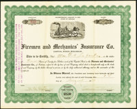 Firemen and Mechanics' Insurance Co. 4 Shares 1920 Extremely Fine, pinholes