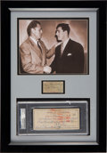 Boxing Collectibles:Memorabilia, 1952 Rocky Marciano Twice-Signed Savold Fight Purse Check Display. ...