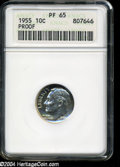 "Proof Roosevelt Dimes: , 1955 10C PR 65 ANACS. The current Coin Dealer Newsletter(Greysheet) wholesale ""bid"" price is $9.00...."