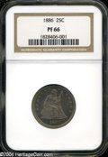 Proof Seated Quarters: , 1886 25C PR 66 NGC. ...