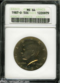 Kennedy Half Dollars: , 1987-D 50C MS64 ANACS. ...