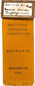 Political:Ribbons & Badges, Woman's Suffrage: Rare Convention Ribbon....