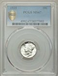 Mercury Dimes: , 1935 10C MS67 PCGS. PCGS Population: (81/0 and 5/0+). NGC Census: (118/0 and 2/0+). CDN: $85 Whsle. Bid for NGC/PCGS MS67. ...