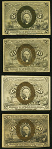 Fr. 1232 5¢ Second Issue Extremely Fine-About New; Fr. 1244 10¢ Second Issue Very Fine; Fr. 1283 ... (Total: 4...