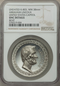(Undated) Medal Abraham Lincoln, United States Capitol -- Bent -- NGC Details. Unc. King-803. White Metal, 38 mm