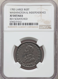 1783 COPPER Washington & Independence Cent, Large Military Bust -- Reverse Scratched -- NGC Details. XF