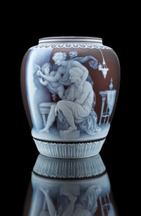 Exceptional and Important George Woodall for Thomas Webb & Sons Cameo Glass Vase: The Origin of Painting