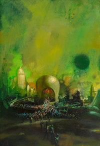 Paul Lehr (American, 1930-1998) A for Anything paperback cover Acrylic on Masonite 24 x 16-1/2 in
