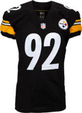 Football Collectibles:Uniforms, 2015 James Harrison Game Worn Pittsburgh Steelers Jersey, Cleats & Gloves Photo Matched to 10/18 vs. Cardinals. ...