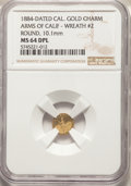 California Gold Charms, 1884 Arms of California, California Gold, Round, Wreath #2, MS64 Deep Mirror Prooflike NGC. 10.1 mm....