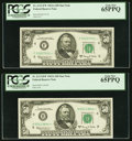 Small Size:Federal Reserve Notes, Fr. 2113-F*; H* $50 1963A Federal Reserve Star Notes. PCGS Gem New 65PPQ.. ... (Total: 2 notes)