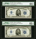 Fr. 1651 $5 1934A Silver Certificates. Two Consecutive Examples. PMG Graded Choice Uncirculated 64 EPQ; 63 EPQ. ... (Tot...