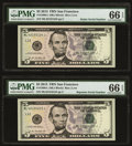 Small Size:Federal Reserve Notes, Radar 42155124 Fr. 1996-L $5 2013 Federal Reserve Note. PMG Gem Uncirculated 66 EPQ;. Repeater 42154215 Fr. 1996-L $5 2013... (Total: 2 notes)
