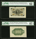 Fractional Currency:Third Issue, Fr. 1251SP 10¢ Third Issue Wide Margin Face PMG Uncirculated 62;. Fr. 1255SP 10¢ Third Issue Wide Margin Back PMG Superb G... (Total: 2 notes)