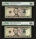 Small Size:Federal Reserve Notes, Radar 42144124 Fr. 1996-L $5 2013 Federal Reserve Note. PMG Gem Uncirculated 66 EPQ;. Repeater 42144214 Fr. 1996-L $5 2013... (Total: 2 notes)