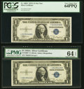 Fr. 1608* $1 1935A Silver Certificate Stars. Two Examples. PCGS Very Choice New 64PPQ; PMG Choice Uncirculated 64 EPQ...