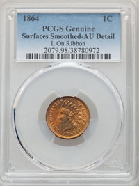 1864 1C L On Ribbon -- Surfaces Smoothed -- PCGS Genuine. AU Details. Mintage 39,233,712....(PCGS# 2079)