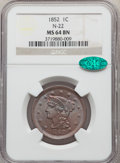 1852 1C N-22, N-9, R.1, MS64 Brown NGC. CAC. NGC Census: (5/4). PCGS Population: (4/4). MS64. Mintage 5,063,094. ...(PCG...
