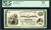 Americus, GA- City Council of Americus $2 __ 1, 187_ Proof PCGS About New 53