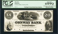 Conway, MA- Conway Bank $20 Sep. 12,1854 as G12a Proof PCGS Gem New 65PPQ